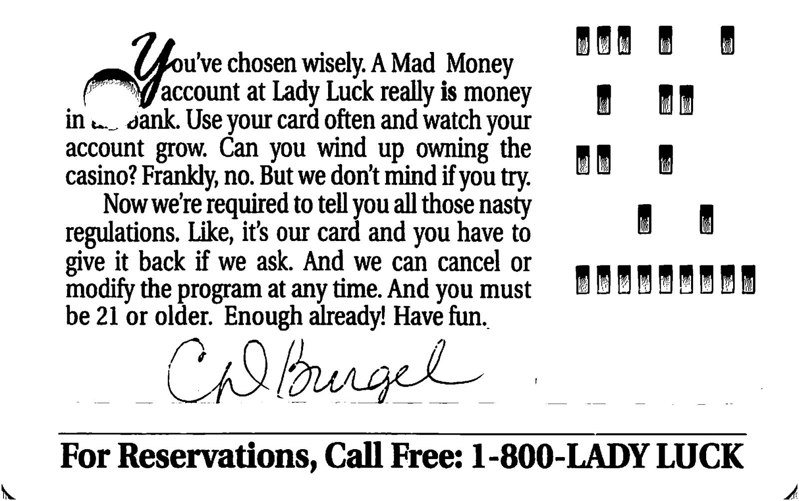 lady luck casino players club